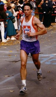 The author running in the 1992 New York City Marathon.