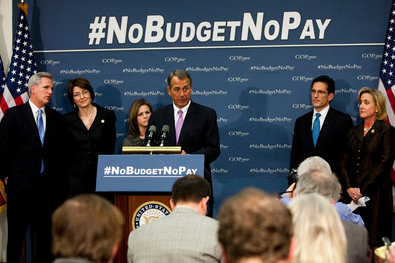 Speaker John A. Boehner, center, and other House Republicans on Tuesday at a news conference urging a set budget.