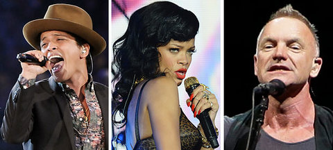 From left, Bruno Mars, Rihanna and Sting will perform together at the Grammy Awards on Sunday.