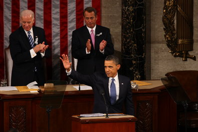 President Obama after delivering the State of the Union address in January 2011. He will give his 2013 address on Tuesday night.