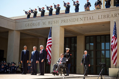 From left, President Obama, George W. Bush, Bill Clinton, George H.W. Bush and Jimmy Carter attended the opening ceremony of the George W. Bush Presidential Center on Thursday in Dallas.