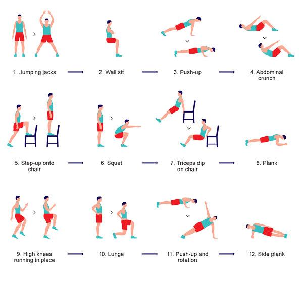 12 Exercises/ 7 minutes
