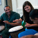 Amy Garapic, center right, a percussionist and instructor, performs with prisoners in
