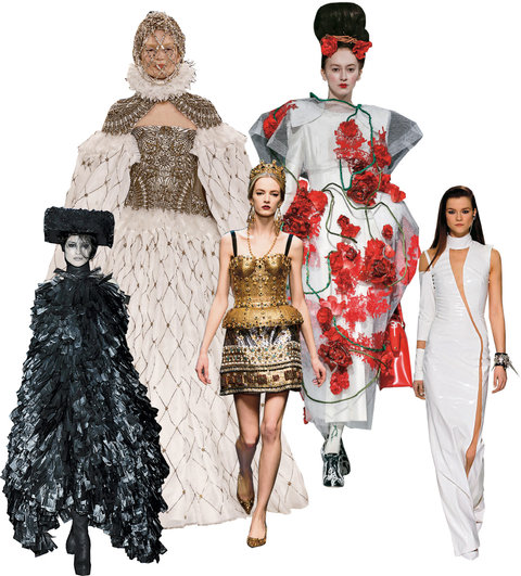 Runway looks from the fall collections that will be photographed by magazines but most likely never find their way to consumers, from far left: Gareth Pugh, Alexander McQueen, Dolce & Gabbana, Thom Browne, Versace.