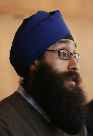 Prabhjot Singh, an assistant professor of international affairs at Columbia University, at a press conference in New York on Monday.