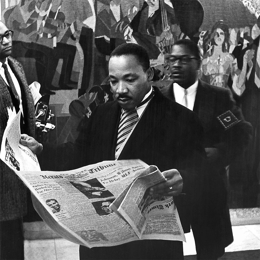 The Rev. Dr. Martin Luther King Jr. during a break at the award ceremony for his Nobel Peace Prize in 1964.