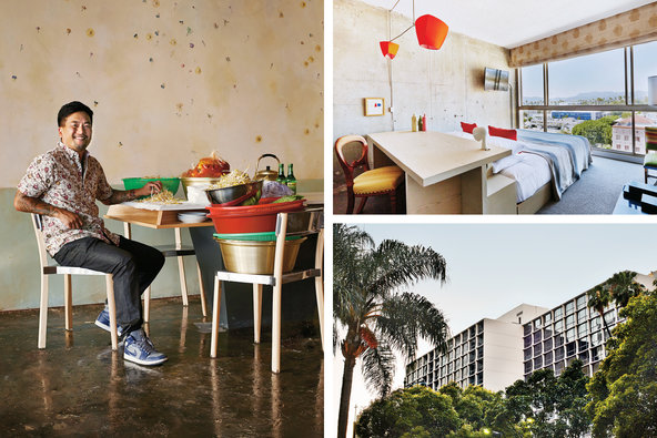 Clockwise from left: Chef Roy Choi at Pot; a guest room overlooking Koreatown; the hotel's sleek exterior.