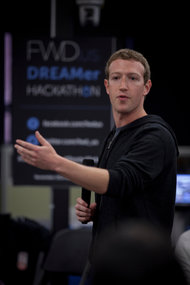 Mark Zuckerberg, the co-founder and chief executive of Facebook, on Wednesday at the hackathon at LinkedIn's headquarters.