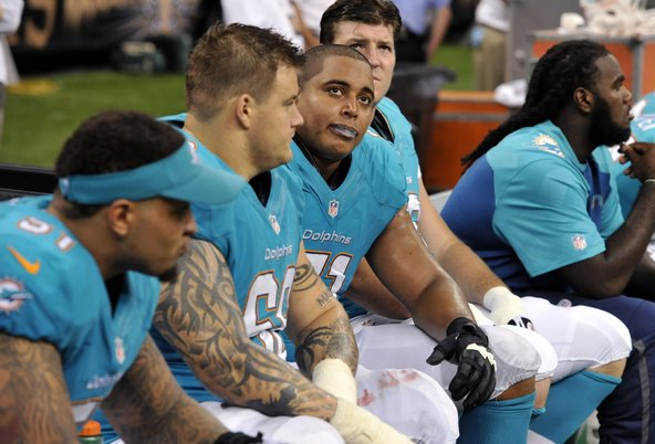 A report for the N.F.L. detailed harassment of Jonathan Martin, third from left, by Richie Incognito, second from left.