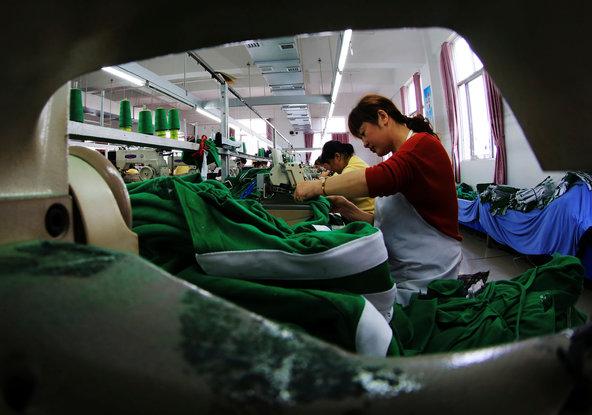 Agarment factory in Jiujiang in central China's Jiangxi Province.