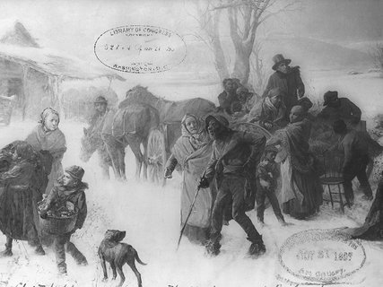 A painting from 1893 showing white abolitionists helping slaves escape along the Underground Railroad.