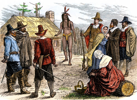 Samoset visiting Pilgrim colonists at Plymouth, 1620s.