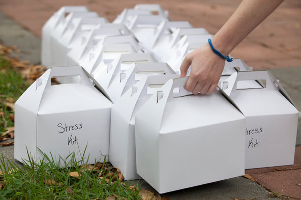 Stress kits were distributed at an event at the University of Central Florida's Center for Counseling and Psychological Services. The kits included a stress ball, mints and crayons.