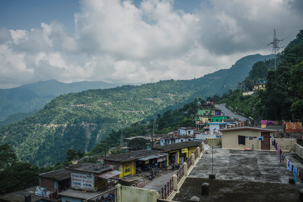 A series of towers on the hillsides ofNarendra Nagar is part of a communications network spanning 2,500 square miles of mountainous terrain.