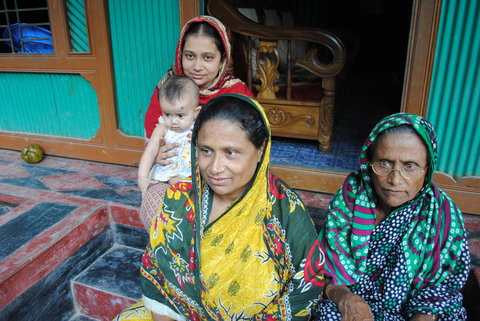 Sufia Khatun with members of her family in Matlab, Bangladesh.
