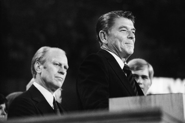 President Gerald R. Ford and Ronald Reagan at the closing session of the Republican National Convention in Kansas City, Mo., on Aug. 19, 1976.