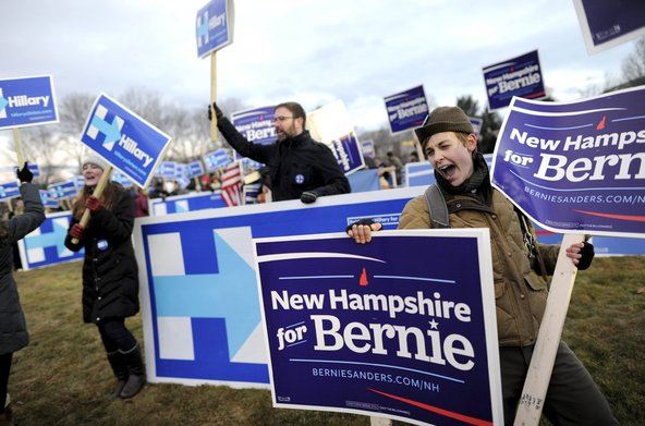 Supporters of Senator Bernie Sanders of Vermont and Hillary Clinton before the Democratic debate this month in New Hampshire.