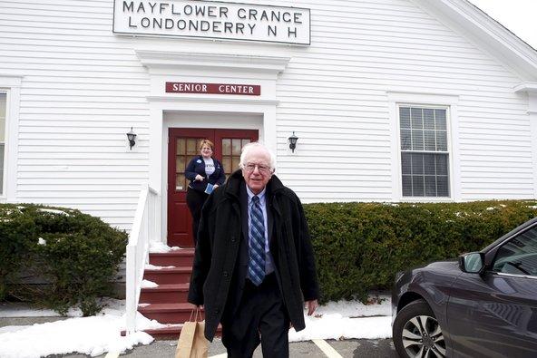 Senator Bernie Sanders after he spoke in Londonderry, N.H., on Sunday.