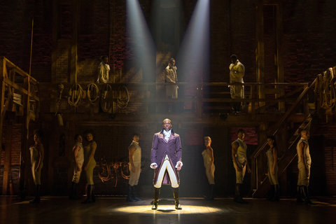 "Leslie Odom Jr. as Aaron Burr in the musical ""Hamilton"" at the Richard Rodgers Theater."