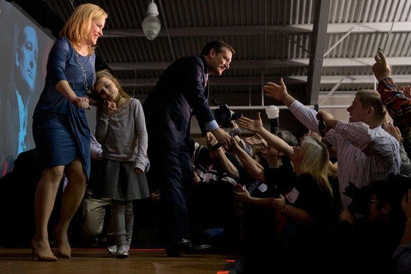 Senator Ted Cruz greeted supporters in Des Moines after winning the Iowa caucuses on Monday night.