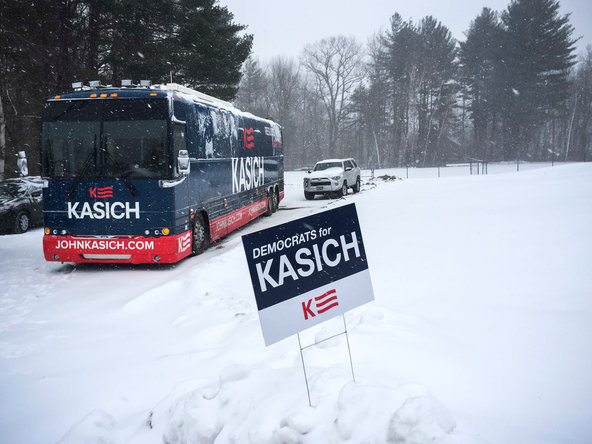 Gov. John Kasich, campaigning in Windham, N.H., on Monday, has proven popular with Democrats in the state.