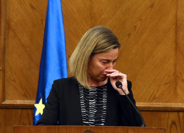 Federica Mogherini abruptly broke off a news conference in Jordan after being overcome with emotion.