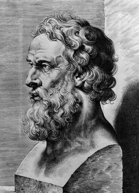 An engraving of a bust of Plato.
