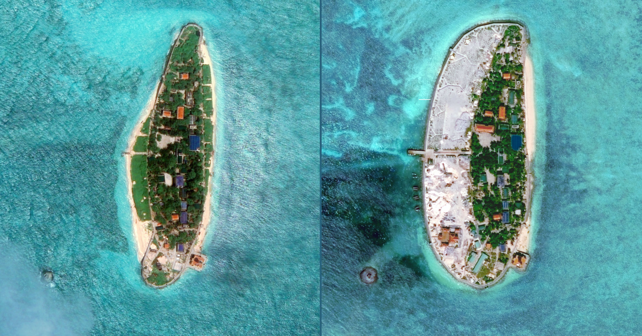 Land reclamation at Vietnam's Sand Cay.  Image by DigitalGlobe, via CSIS Asia Maritime Transparency Initiative