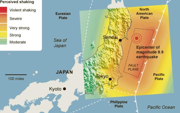 Visualization of the magnitude of the quake