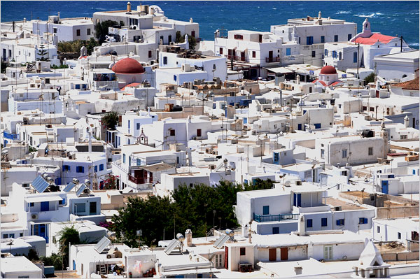 An overview of Mykonos Town, also known as Chora.