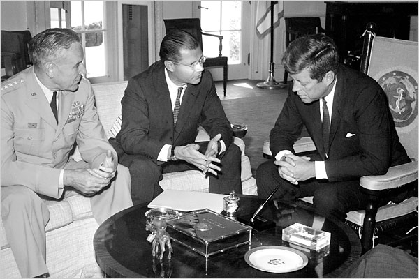 L to R - U.S. Army Chief of staff General Maxwell Taylor, Robert S. McNamara and President John F. Kennedy. (Image - Photo: Agence France-Presse -- Getty Images; Courtesy - nytimes.com). Click for larger image.