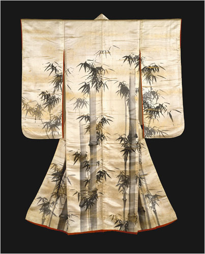 Painting of Bamboo. Ink and gold on silk kimono.