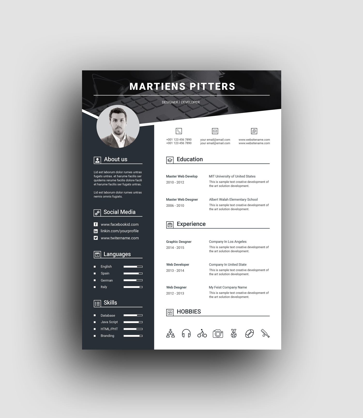 Berlin Premium Professional Resume Template Graphic Templates