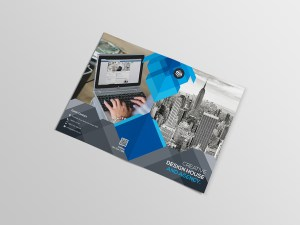 Blue Corporate Bi-Fold Brochure Template