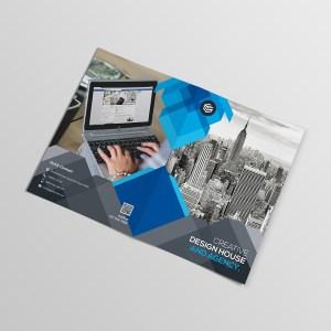 Blue Corporate Bi-Fold Brochure Template