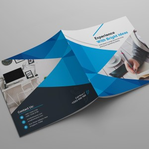 Bright Idea Corporate Square Bi-Fold Brochure Template