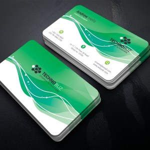 Green Waves Business Card Template