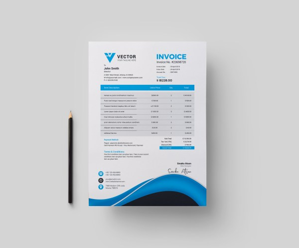 Pharmacy Corporate Invoice Design Template