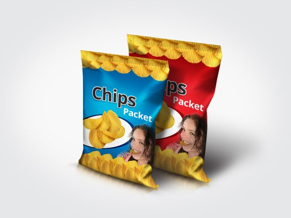 Photorealistic Multipurpose Snack Foil Pack Mock-Up