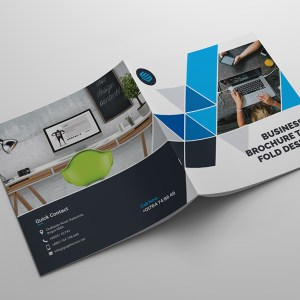 Ultra Modern Corporate Square Bi-Fold Brochure Template