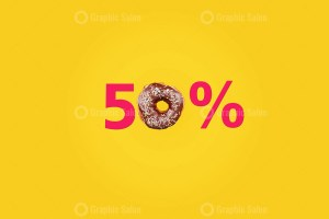 Fifty percent made with number and donut