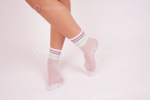 Woman in white socks in the studio