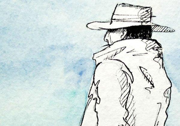 dessin portrait paysan perou chapeau ciel bleu artiste
