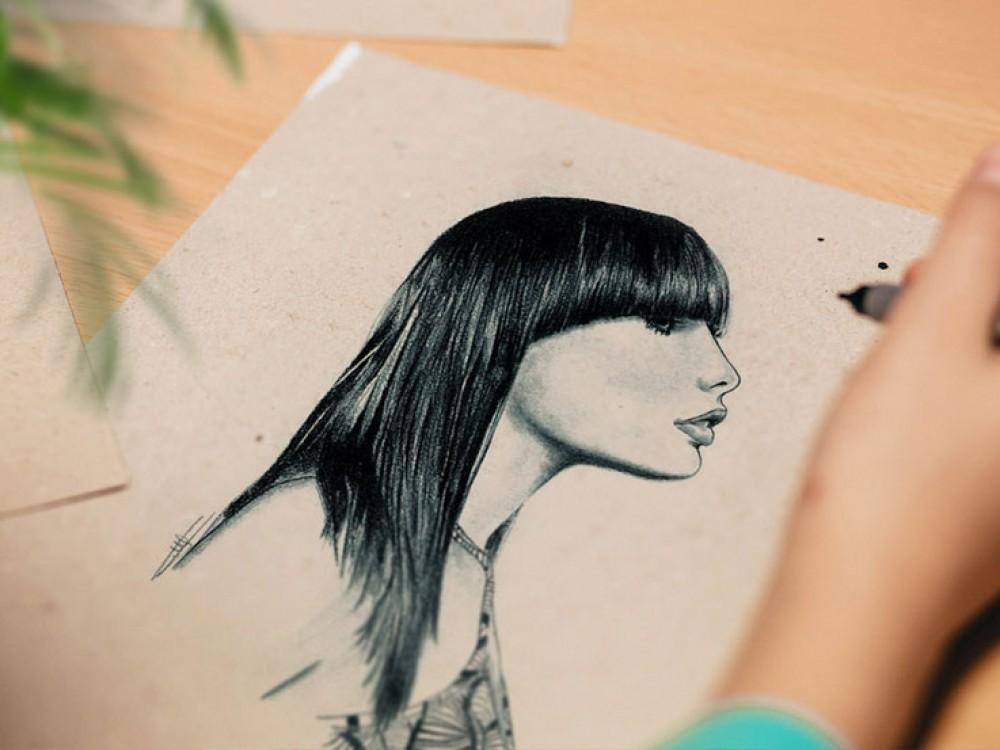 dessin portrait femme hyperrealiste noir et blanc