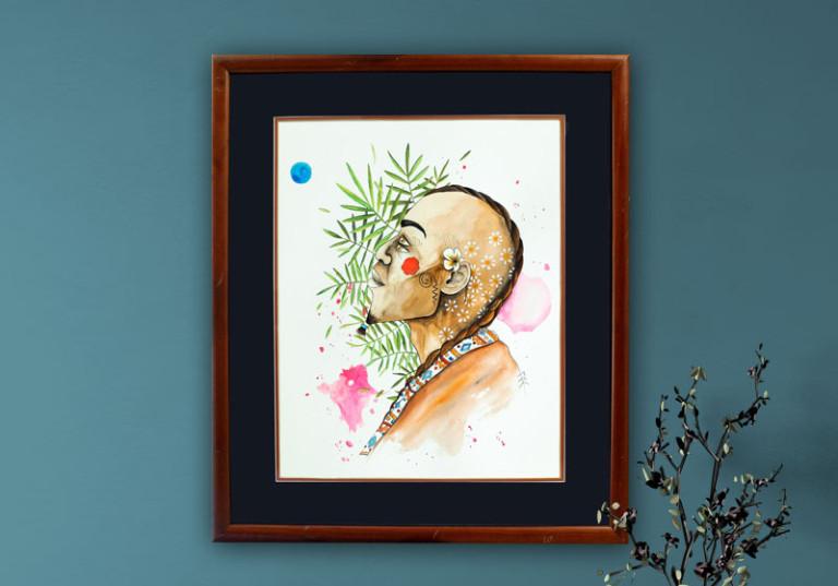 creation artiste tableau aquarelle portrait homme profil poetique