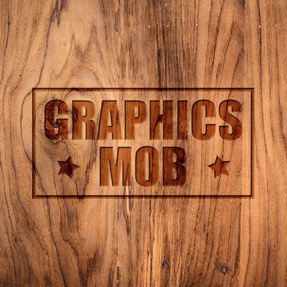 Download free wood engraved logo mockup psd