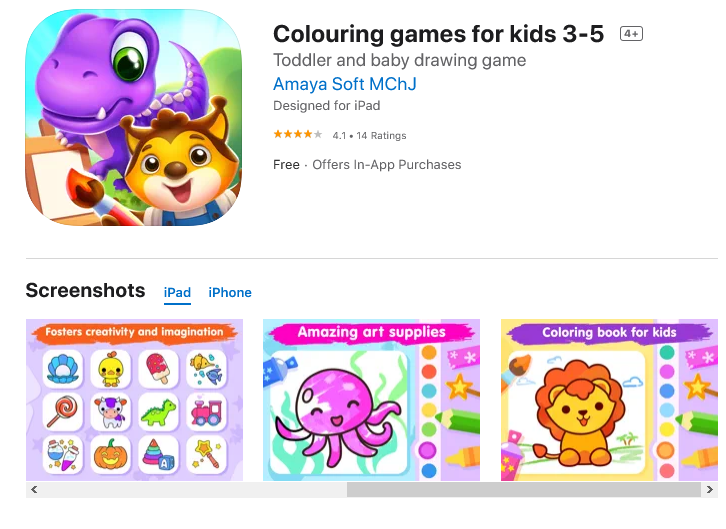 Colouring games for kids 3-5 (Free: iPadOS and iOS)