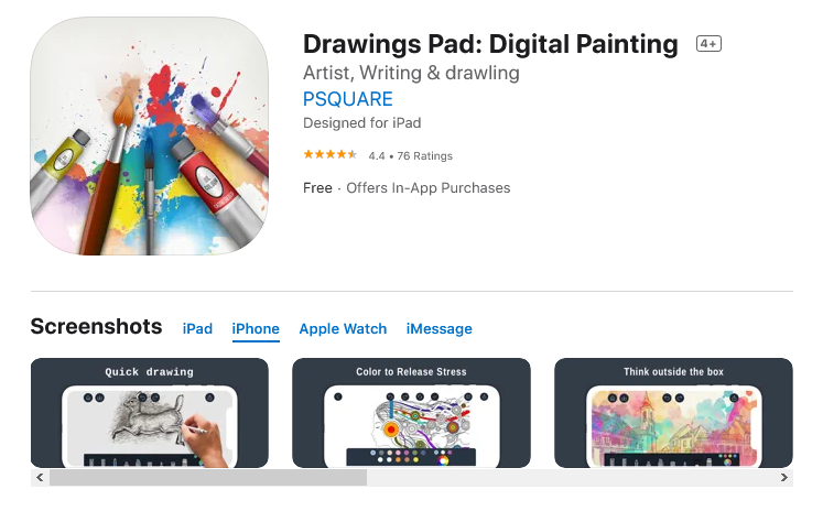 Drawings Pad: Digital Painting (Free: iPadOS and iOS)