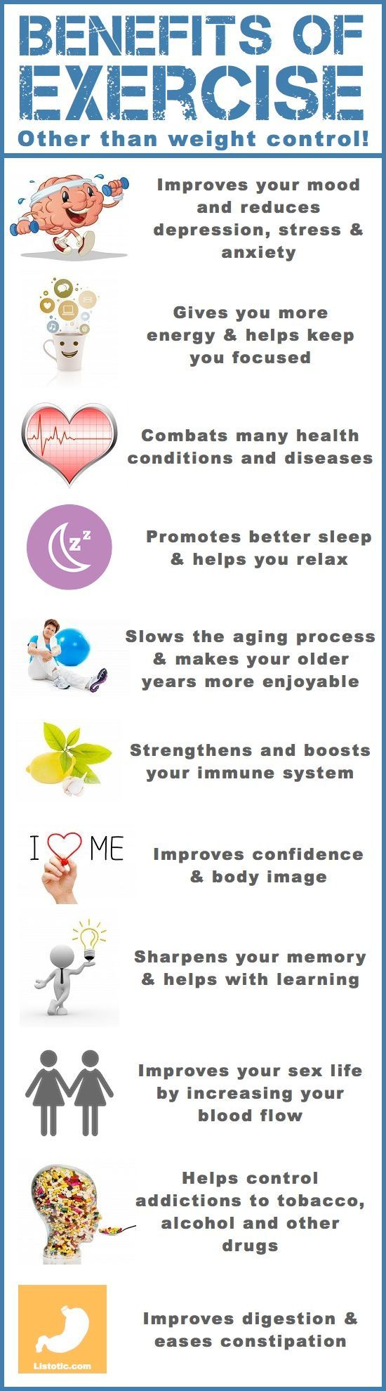 Benefits Of Exercise Other Than Weight Control - Infographic