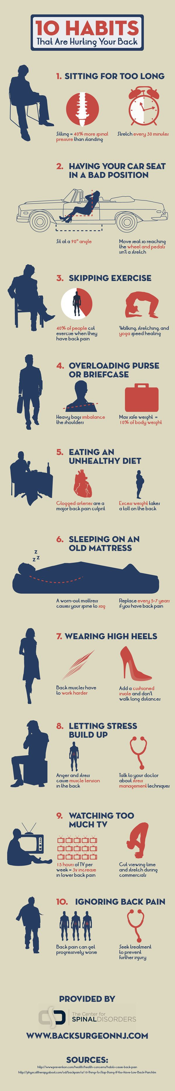 10 Habits Of Yours That Affect And Injure Your Back - Infographic